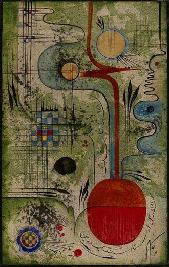 А.Кедрин. Сад ветров. Боги Шамал. 1989. Картон,масло. 80х50