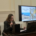 Екатерина Паникаровская докладывает о  рефункционализации исторических зданий