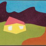 8. Эндер К.В. Желтый дом с красной крышей. 1920-е Картон, коллаж из цветной бумаги.  25 x 35,3, Третьяковская  галерея