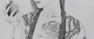 """""""Гранат"""" Минако Ота (Акрил на бумаге, 60 x 43 см) .Выставка «Мой знак» в Галерее Отокомае"""
