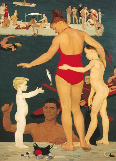 """""""У моря. Семья"""", 1964 г., оргалит, темпера.""""Дмитрий Жилинский. Ближний круг"""""""