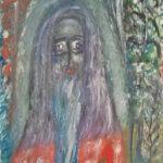 """Валентин Юшкевич """"Преподобный Онуфрий Великий"""", 1993 год. Картон, гуашь, 72х48 см"""