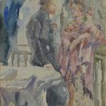 А. Коновалова. Свидание», 1910-е, 30х24 см, бумага, акварель, courtesy Vellum gallery